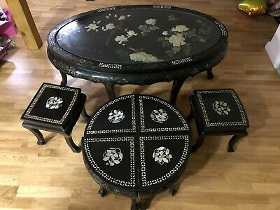 OLD Japanese Table With Chairs Unique Antique Very Old Furniture Personal Pickup • 3,361.71£