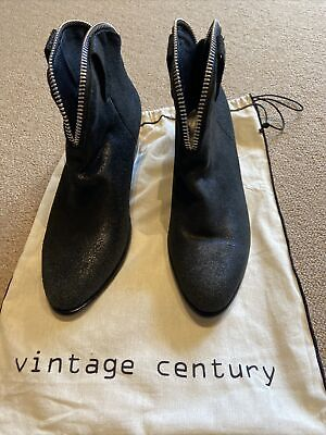 New Vintage Century Black Leather Suede  Booties From Bali Size 40 • 90.63£