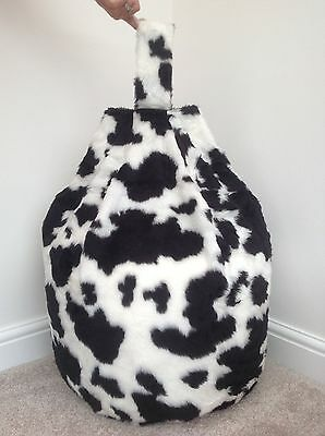 Bean Bag Cover Only B&w Cow Faux Fur 3 Cubic Feet Size Animal Print New  • 23.99£