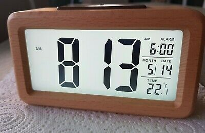 AU29.90 • Buy New Digital Timber Alarm Clock Night Light Temperature Day Date New In Box