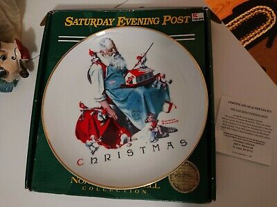 $ CDN13.09 • Buy Norman Rockwell Christmas Saturday Evening Post Santa's Helpers Plate