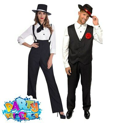 £21.99 • Buy Adult 1920s Gangster Costume Pinstripe Mobster Ladies Mens Fancy Dress Outfit