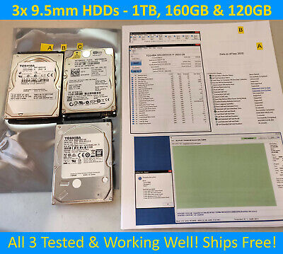 $ CDN129.99 • Buy ⭐Lot Of 3x 2.5  Laptop Hard Drives: 1TB, 160GB, 120GB Toshiba & WD (9.5mm SATA)