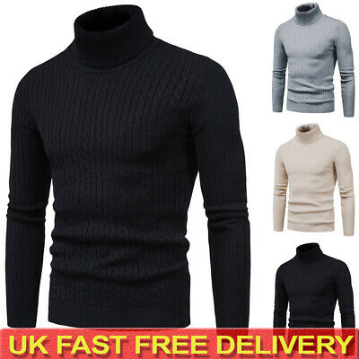Mens Cable Knitted Turtle Polo Neck Jumper Casual Winter Warm Sweater Pullover • 15.39£
