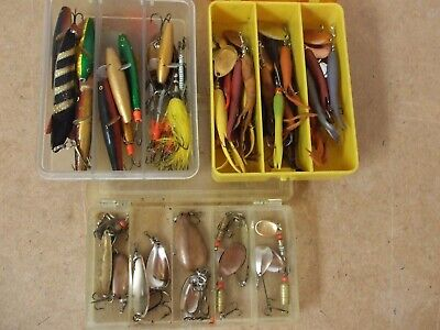 $ CDN68.86 • Buy Three Quality Plastic Boxes Complete With 50 Off Minnows / Spinners.