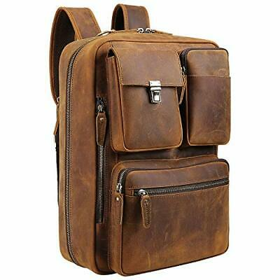 Vints Leather Laptop Backpack Convertible Into Briefcase Handmade Business • 182.30£