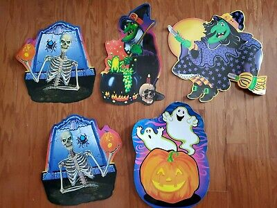 $ CDN46.24 • Buy Vintage Lot Of 5 Large Halloween Cardboard Cutouts Decorations From 1990s School