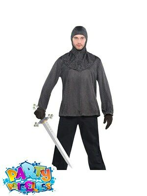 Mens Warrior Chain Mail Tunic And Hood Medieval Knight Fancy Dress Outfit • 16.99£
