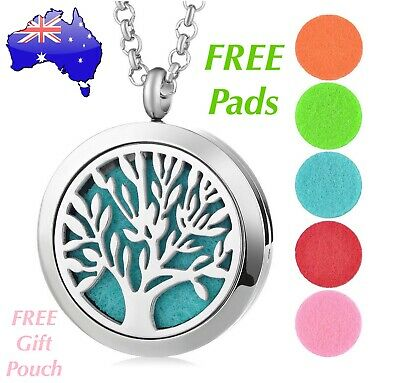 AU14.95 • Buy Tree Of Life Aromatherapy Oil Diffuser Stainless Steel Locket Pendant Necklace