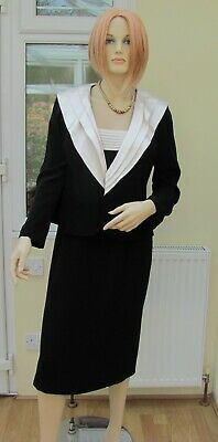 Gina Bacconi Designer Dress And Jacket Suit Lined Black UK 12 RRP £420 Wedding • 19.99£