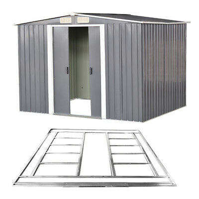 Metal Garden Shed Apex Roof 10x8FT Storage House Tool Sheds With Free Foundation • 439.99£