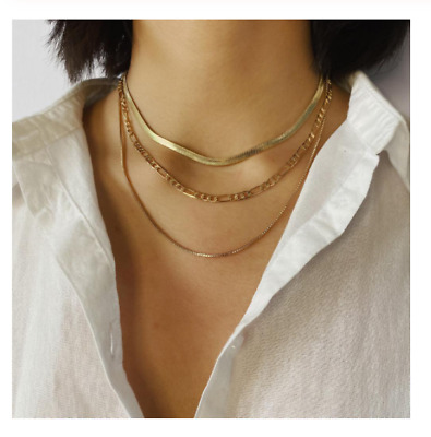 Multi Layered Flat Snake Link Chain Choker Women Necklace Simple Gold Collar • 11.31£