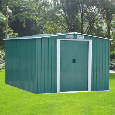 New Large Metal Garden Shed 8X10FT Apex Roof Tool Storage With FREE FOUNDATION • 399.99£
