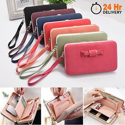 Clutch Bag Women Purse Leather Wallet Ladies Handbag Card Phone Holder Case Coin • 4.99£
