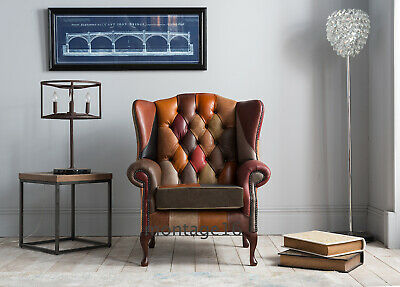 £669 • Buy Lorton Patchwork Leather Flat Wing Chair Armchair High Back Chesterfield