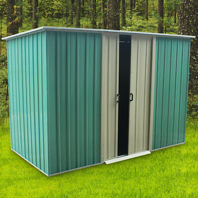 New Metal Garden Shed Flat Roof Outdoor Tool Storage House Heavy Duty Patio • 229.99£