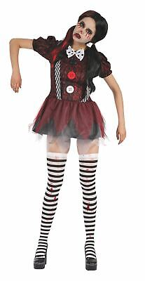 Womens Creepy Doll Costume Damaged Broken Halloween Fancy Dress Outfit (10-14) • 20.49£