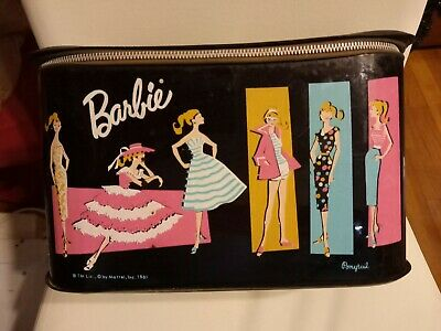 $ CDN72.55 • Buy Vintage Barbie Doll Black Vinyl Train Carrying Case 1961 RARE