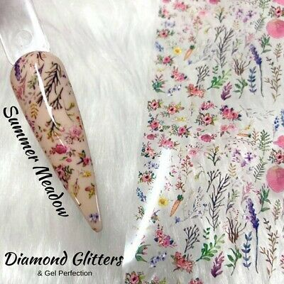 Nail Transfer Foil 1m Vintage Floral Rose Full Coverage Nail Art Summer Meadow • 1.99£