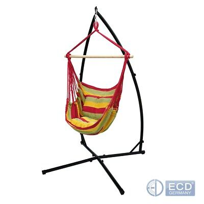 Outside Hammock Hanging Rope Chair Swing Seat With Stand Frame Red/yellow/orange • 84.95£