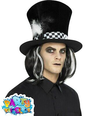 £8.99 • Buy Dark Mad Hatter Top Hat With Hair Tea Party Halloween Mens Fancy Dress Accessory