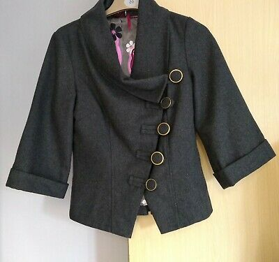 Ringspun Grey Wool  Mix Jacket Mcqueen Style Size 10 Ladies Womens Lovely Jacket • 17.99£