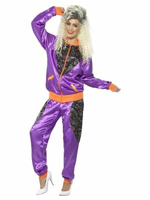 Ladies 80s Shell Suit Fancy Dress Costume Scouser Tracksuit Womens Retro Purple • 16.99£