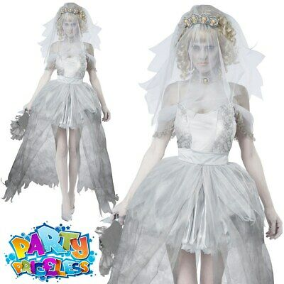 £31.99 • Buy Ghostly Corpse Bride Costume Ladies Sexy Zombie Halloween Fancy Dress Outfit