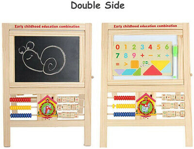 Double Sided Kids Wooden Easel White Black 2 In1 Magnetic Drawing Board Toy • 19.99£