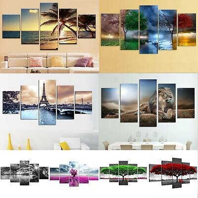 Unframed 5 Panels Large Wall Hanging Pictures Canvas Oil Printing Art Home Decor • 13.58£