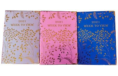 £5.99 • Buy 2021 Diary A5 Week To View Weekly Planner Notebook Hardcover - Gold Foil Design