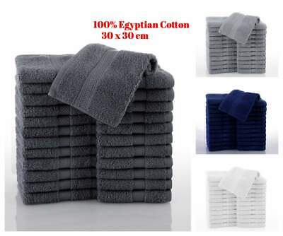 Pack Of 6-96 Luxury Egyptian Soft Cotton Face Flannels Wash Cloth Towel 30x30cm • 6.90£