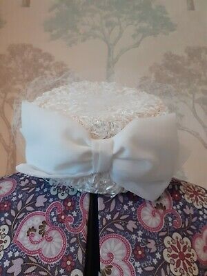 Vintage White/Cream Pillbox Hat With Bow And Net Vintage Wedding VGC • 12£