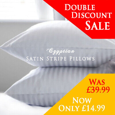 Hotel Quality Egyptian Stripe Pillows Luxury Soft Hollowfibre Filled - 4 Pack • 14.96£