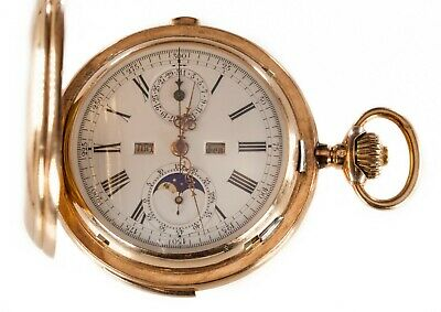 £10347.06 • Buy Gorgeous 14k Yellow Gold Valdor Minute Repeater Moonphase 32 Jewel Pocket Watch