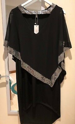 Nwt Black Plus Sz High Low Dress With Chiffon Over And Silver Sequins - Size 2xl • 15.20£