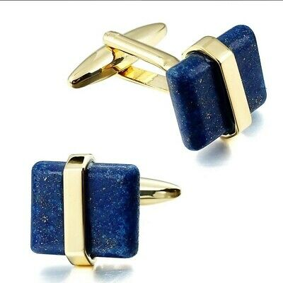 £6.99 • Buy Gold Blue Natural Stone Crystal Cufflinks Business Wedding Gift For Suit Shirt