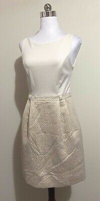 AU17 • Buy Forever New Size 8 Dress Ivory Off White Gold Glitter Sparkly Sleeveless Party