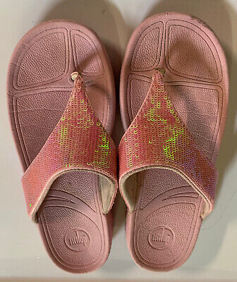 £14.48 • Buy FitFlop Girls Pink Sequin Thong Sandals Size 4 US Eur 36 NICE!!!