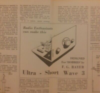Vintage Magazine 1952 - Making An Ultra - Short Wave3 F.G.Rayer Good Condition • 1.99£