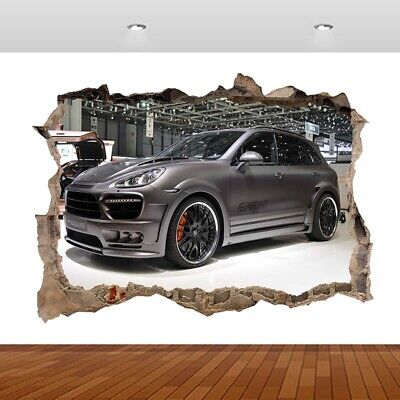 £12.99 • Buy Porsche Cayenne Turbo Sports Car 3D Smashed Wall Sticker Poster Vinyl Mural S497