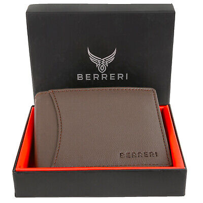 Boxed Mens Leather Wallet RFID Safe Quality Credit Card Holder Purse Brown Gift • 7.99£