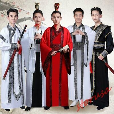 $43.19 • Buy Chinese Traditional Scholar Costume Mens Photography Retro Robe Hanfu Tang Suits