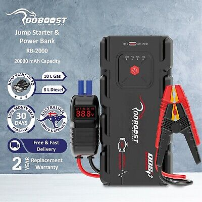 AU149.99 • Buy Rooboost Jump Starter 2000A Portable Power Bank Heavy Duty Booster