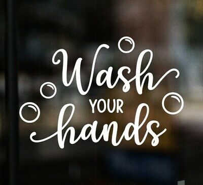 £3.95 • Buy WASH YOUR HANDS Mirror Window Bathroom Mask Sign Sticker Shop Office Pub Cafe