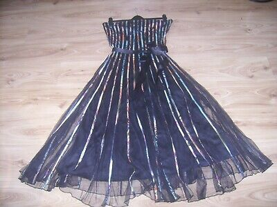 Stunning Stella Morgan Black/multicoloured Fit And Flare Party Dress Size 16 • 30£