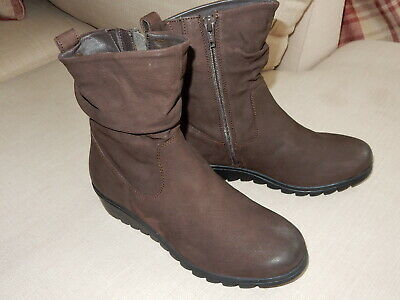 Pavers Brown Nubuck Leather Ladies Mid Calf Slouch Boots Size 38 UK5 • 30£