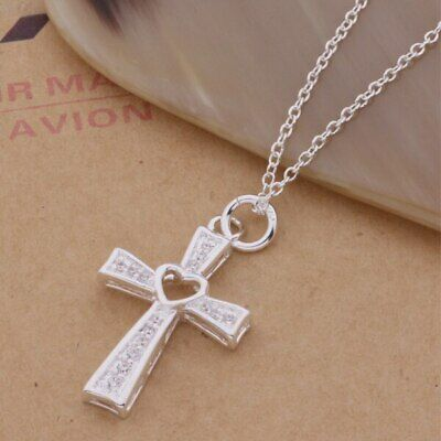 £4.99 • Buy 925 Sterling Silver Plated Cross Crucifix Crystal Heart Chain Necklace Pendant