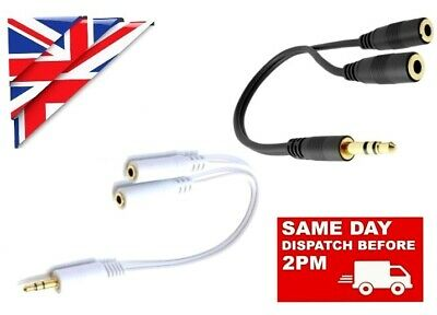 3.5mm HEADPHONE EARPHONE SPLITTER JACK Y MALE To 2 FEMALE CABLE AUDIO EXTENSION • 2.69£