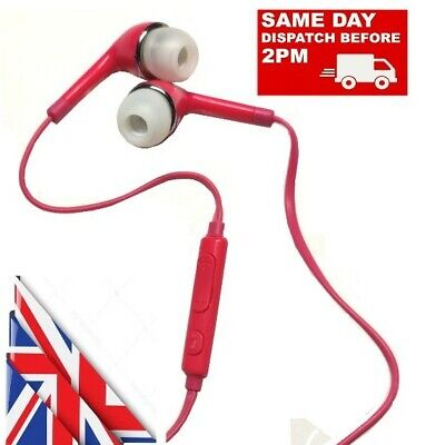IN EAR 3.5mm PINK EARPHONES EXTRA BASS WITH MIC For IPHONE IPOD SAMSUNG HTC SONY • 3.46£